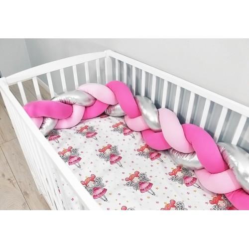 Baby Nellys Mantinel pletený vrkoč shine s obliečkami Víla - růžová, stříbrná - 120x90