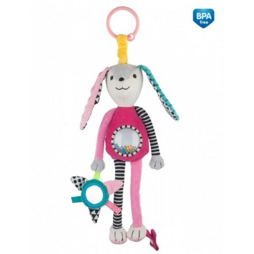 Canpol babies Závesná plyšová hračka so zrkadielkom a hrkálkou - ružová