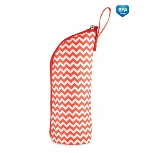 Canpol babies Termobox na dojčenskú fľašu - červený / zigzag