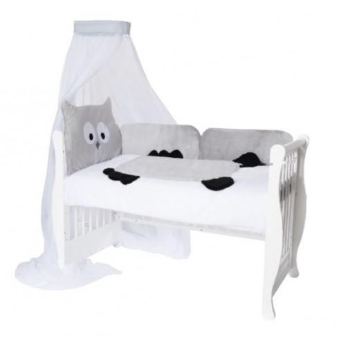 Baby Nellys Mantinel s obliečkami a nebesami Animal, 120x90 - Sova šedá