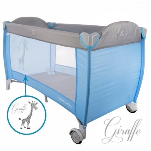 Euro Baby Dětská cestovná posteľ Žirafa - modrá/sivá, K19