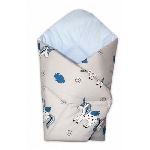 Baby Nellys  Novorodenecká zavinovačka Jednorožec, sivá/vnútro modré