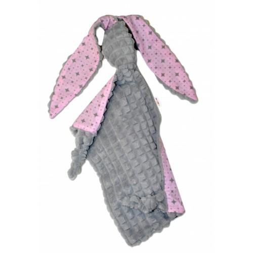 Baby Nellys  Přítulníček králiček, Minky + bavlna - sivý/růžový