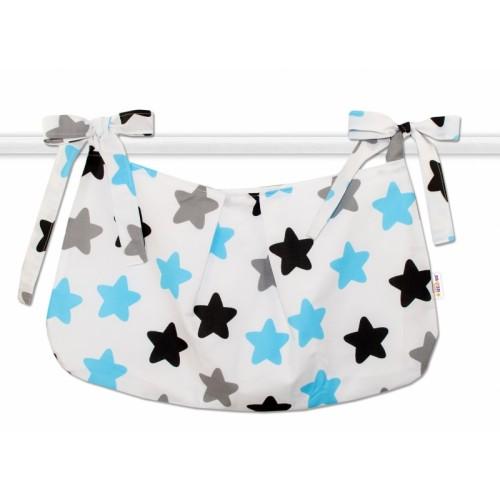 Baby Nellys Vreckár na hračky Farebné hviezdičky - modré