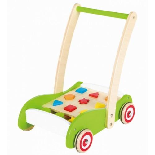 Lelin Drevený vozík, vkladačka - zelený