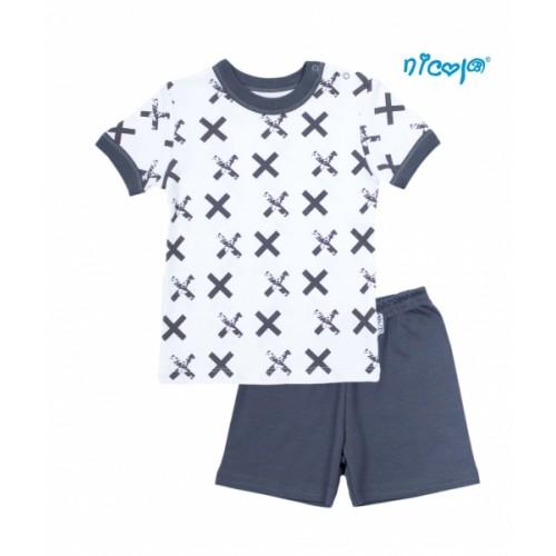 Detské pyžamo krátke Nicol, Rhino - biele/grafit, veľ. 128 - 128