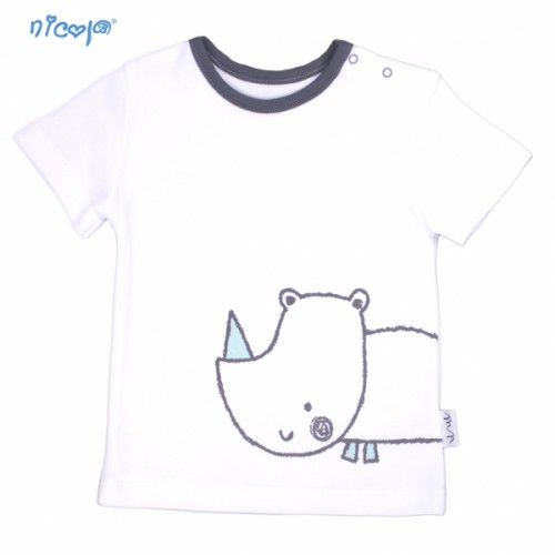 Bavlnené tričko krátky rukáv Nicol, Rhino - biele, Veľ. 74 - 74 (6-9m)