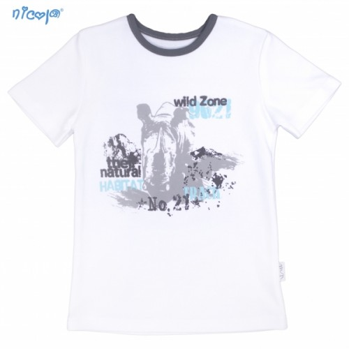 Bavlnené tričko krátky rukáv Nicol, Rhino - biele, veľ.110 - 110 (4-5r)