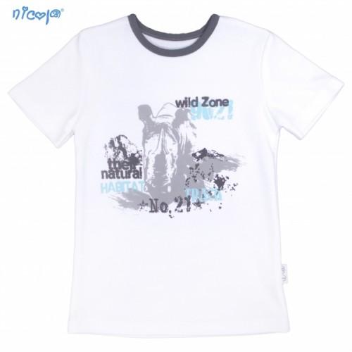 Bavlnené tričko krátky rukáv Nicol, Rhino - biele, veľ.128 - 128 (7-8r)