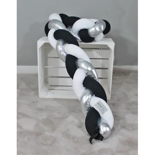 Mantinel Baby Nellys pletený vrkoč - čierna, biela, strieborná