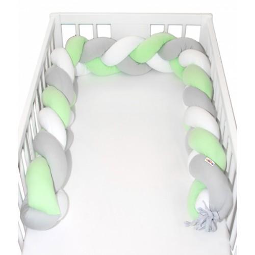 Mantinel Baby Nellys pletený vrkoč - zelená, biela, sivá - 200x16