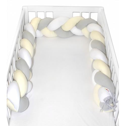 Mantinel Baby Nellys pletený vrkoč - žltá, biela, sivá - 200x16
