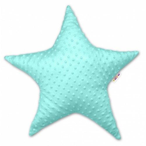 Baby Nellys  Detský dekoračný vankúš Baby Nellys, hviezdička - Minky mätový