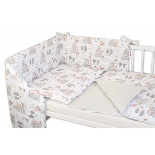 3-dielna sada mantinel s obliečkami Baby Nellys, Zvieratká v lese - šedá, 130x100cm - 135x100