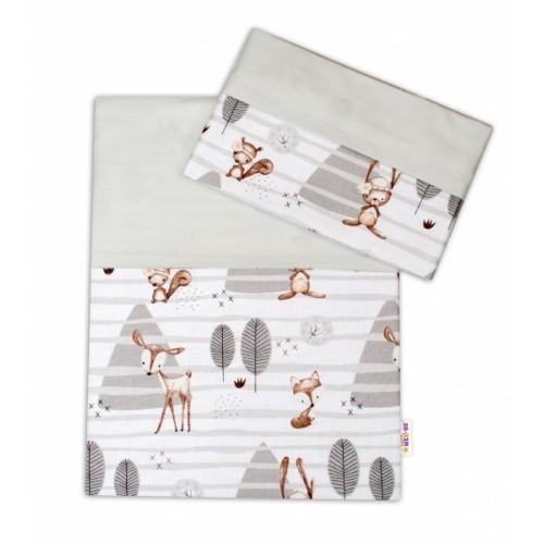 2-dielne bavlnené obliečky Baby Nellys, Zvieratka v lese - sivá, 135x100 - 135x100