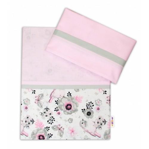 2-dielne bavlnené obliečky Baby Nellys, Vtáčiky - růžová - 120x90