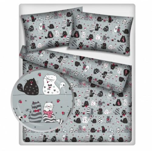 Baby Nellys Bavlněné obliečky 140 x 200/70x90 - mačky - sivé - 140x200/70x90cm