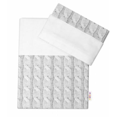 2-dielne bavlnené obliečky Baby Nellys, Pletený vrkoč - sivý - 120x90