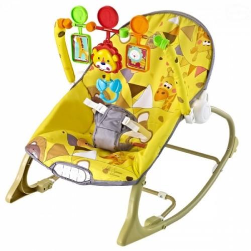 Euro Baby Lehátko, hojdačka pre dojčatá s vibrácií a hudbou  Little savana - žlté