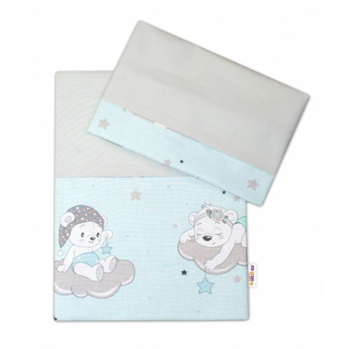 2-dielne bavlnené obliečky Baby Nellys, Medvedíky na mráčkách - mätový - 120x90