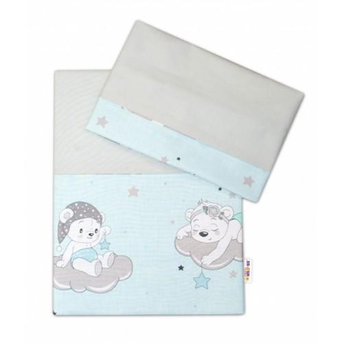 2-dielne bavlnené obliečky Baby Nellys, Medvedíky na mráčkách - mätový, vel. 135x100cm - 135x100
