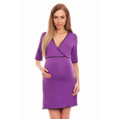 Be MaaMaa Tehotenská, dojčiaca nočná košeľa s čipkovaným lemovaním, kr. rukáv - fialová - S/M