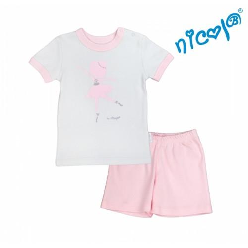 Detské pyžamo krátke Nicol, Baletka - sivo/ružové, veľ. 128 - 128