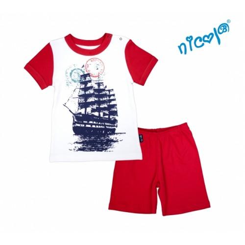 Detské pyžamo krátke Nicol, Sailor  - biele/červené, veľ. 98 - 98 (24-36m)