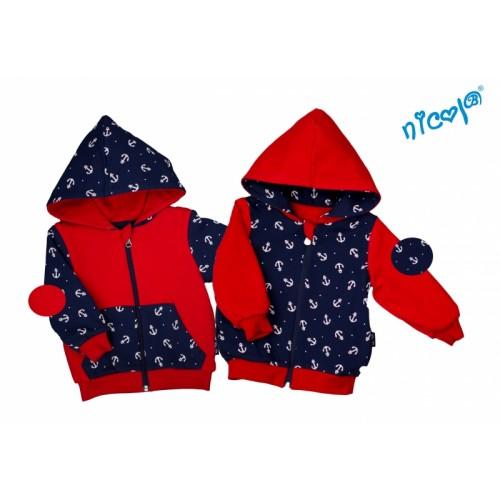 Detská bunda/mikina Nicol obojstranná, Sailor - granát / červená - 110