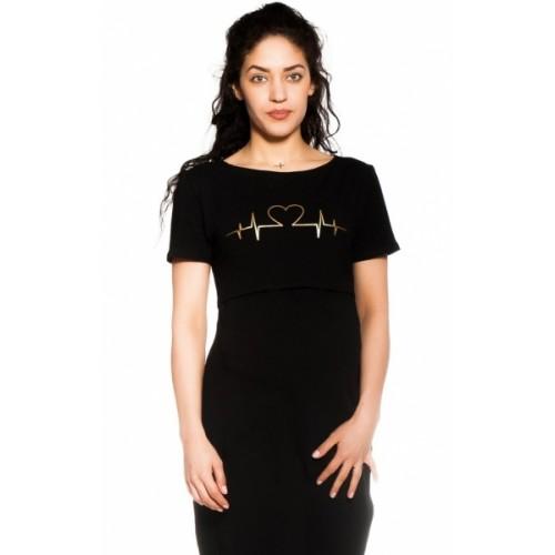Be MaaMaa Tehotenská, dojčiaca nočná košeľa Heartbeat - čierna, veľ. L/XL - L/XL