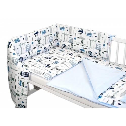 3-dielna sada mantinel s obliečkami Baby Nellys, Mestečko - biela, 135 x 100 - 135x100