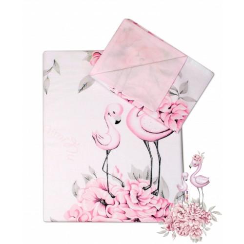 2-dielne bavlnené obliečky Baby Nellys - Plameniak ružový, 135 x 100 - 135x100