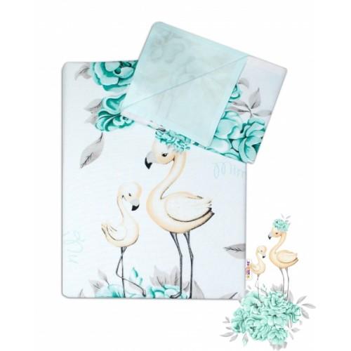 2-dielne bavlnené obliečky Baby Nellys - Plameniak mätový, 135 x 100 - 135x100