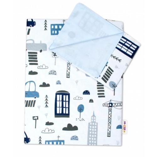 2-dielne bavlnené obliečky Baby Nellys, Mestečko - biele, 135 x 100 - 135x100
