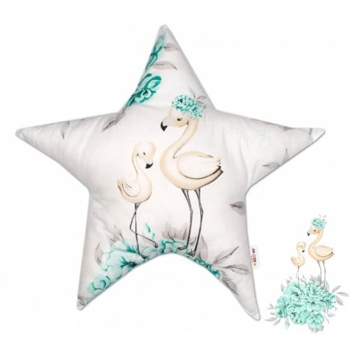 Baby Nellys  Bavlnený detský dekoračný vankúš, Hvezdička - Plameniak mätový