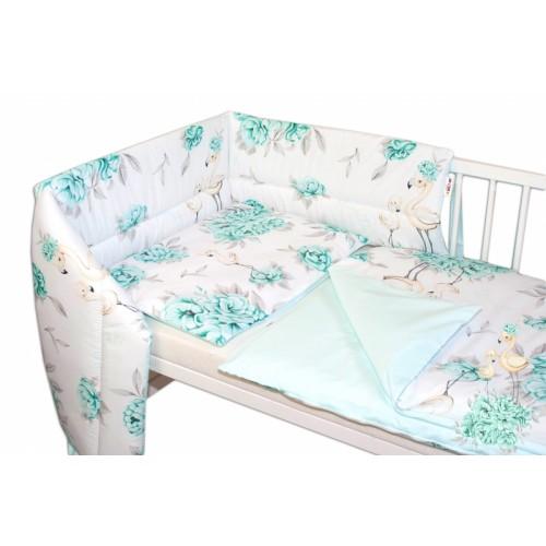3-dielna sada mantinel s obliečkami Baby Nellys, Plameniak - mätová, 135 x 100 - 135x100