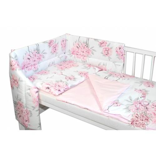 3-dielna sada mantinel s obliečkami Baby Nellys, Plameniak - ružová - 120x90