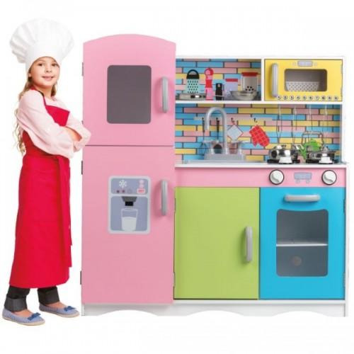 Eco Toys Drevená kuchynka XXL s príslušenstvom, 86 x 81 x 30 cm - farebná