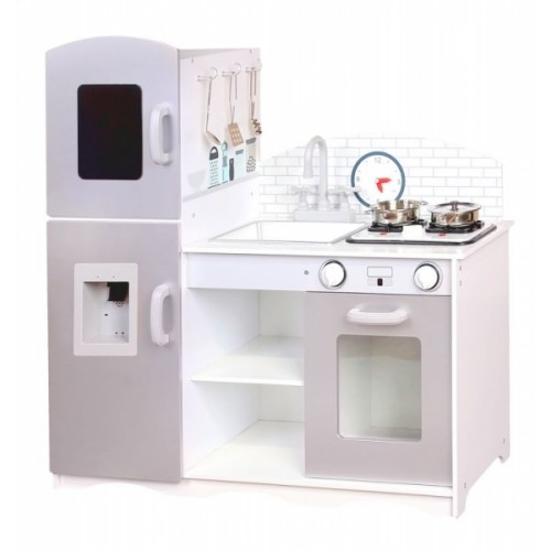 Eco Toys Drevená kuchynka XXL s príslušenstvom, 86 x 92 cm x 30 cm - šedá