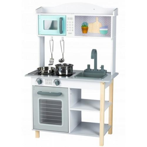 Eco Toys Drevená kuchynka s príslušenstvom, 85 x 60 x 30 cm - šedá