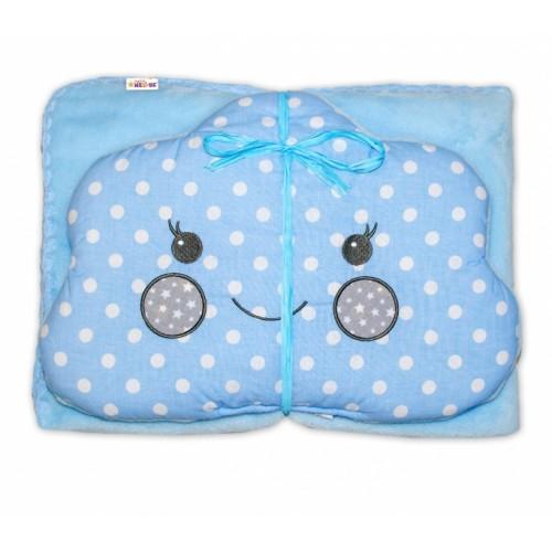 Detská sada deka + vankúšik Mráček Baby Nellys ® - bubble modrá