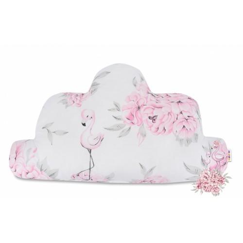 Baby Nellys  Bavlnený detský dekoračný vankúš, Mráčik - Plameniak ružový