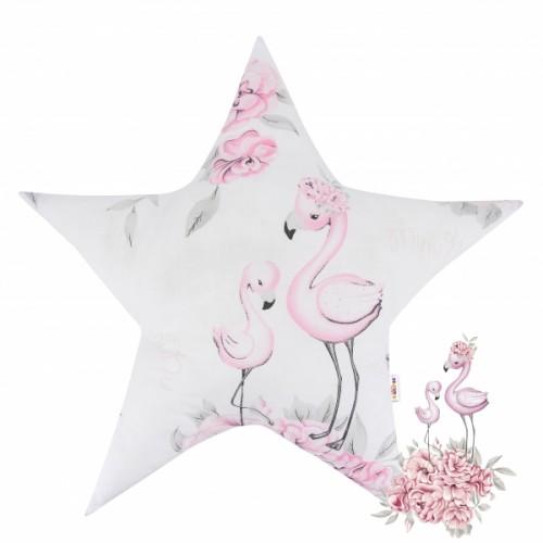 Baby Nellys  Bavlnený detský dekoračný vankúš, Hvezdička - Plameniak ružový