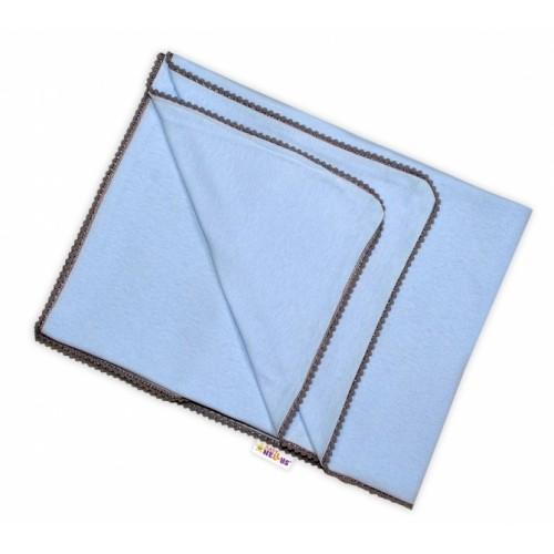 Baby Nellys Letná deka s mini brmbolcami, jersey, 100 x 75 cm - sv. modrá/sivý lem