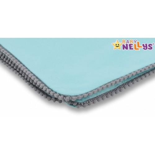 Baby Nellys Letná deka s mini brmbolcami, jersey, 100 x 75 cm - mätová/sivý lem