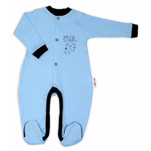 Baby Nellys Bavlnený overal Baby Little Star - modrý, veľ. 56 - 56 (1-2m)