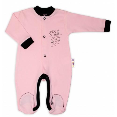 Baby Nellys Bavlnený overal Baby Little Star - ružový, veľ. 56 - 56 (1-2m)