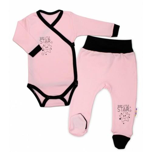 Baby Nellys 2-dielna sada body dl. rukáv + polodupačky, ružová - Baby Little Star - 50 (0-1m)