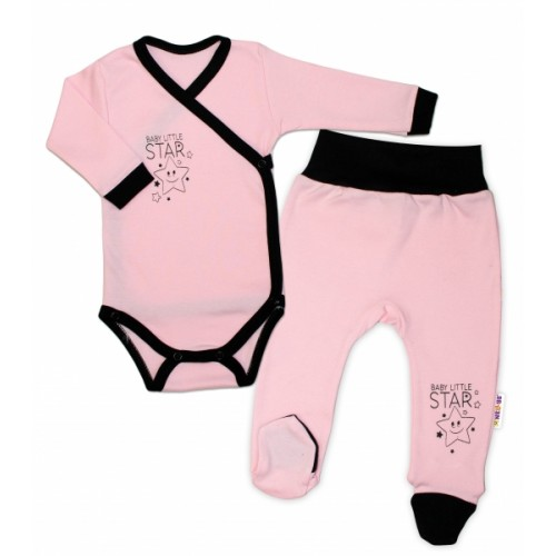 Baby Nellys 2-dielna sada body dl. rukáv + polodupačky, ružová - Baby Little Star, veľ. 68 - 68 (4-6m)