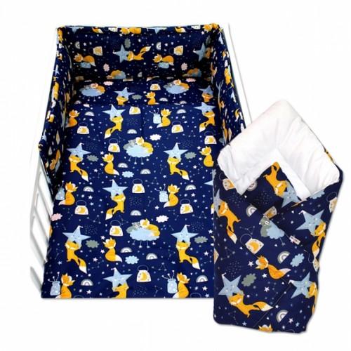 3-dielna sada mantinel s obliečkami + zavinovačka zadarmo - Liška a hvězdy - 120x90